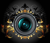 Camera photo lens with ornamental elements — Stock Vector