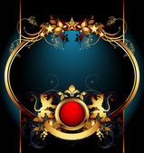 Ornate frame with shield — Stock Vector