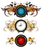Clocks with floral elements — Stock Vector