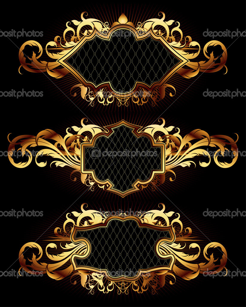 Set of golden frames, this  illustration may be useful  as designer work — Stock Vector #3820349