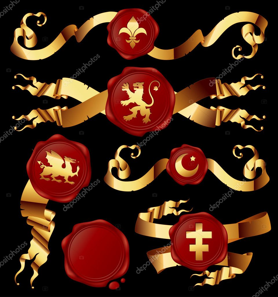 Set of gold ribbons with heraldic seales, this  illustration may be useful  as designer work  Stock Vector #3914522