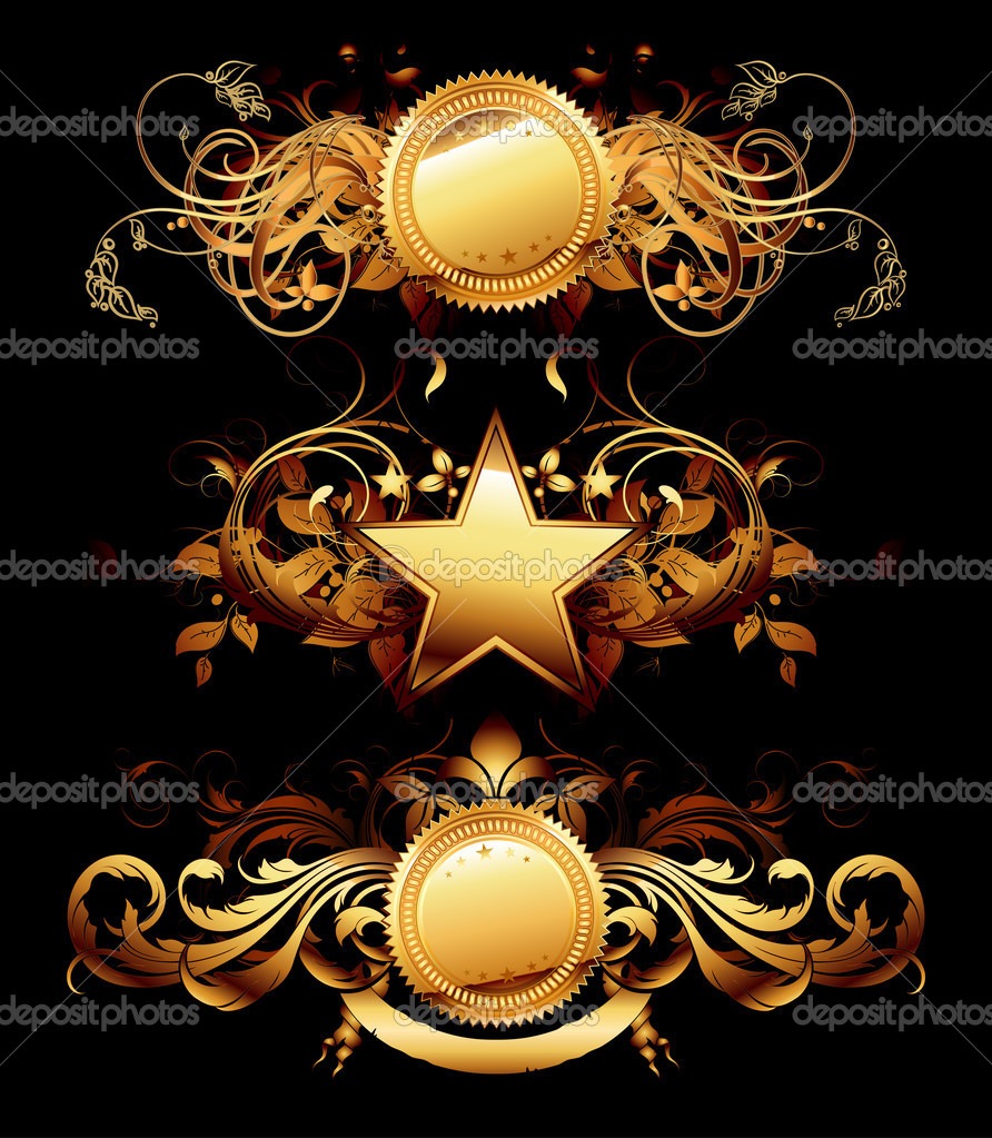 Set of golden frames, this  illustration may be useful  as designer work — Stock Vector #3914542