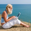 Stock Photo: Girl with netbook