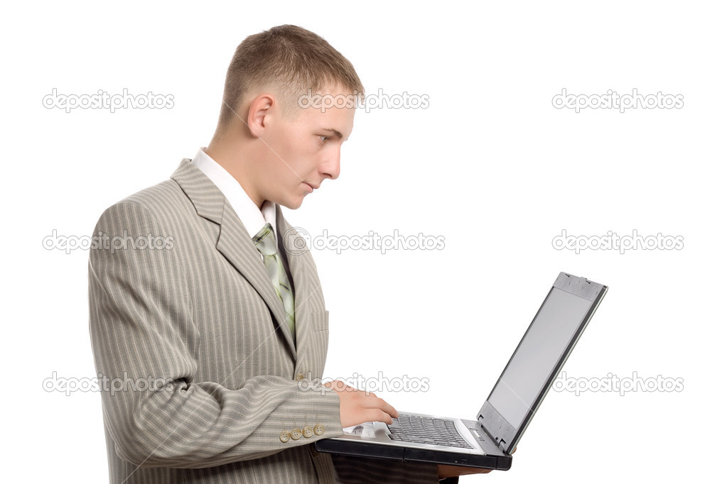 Young businessman working with notebook, white backgound — Stock Photo #3338353