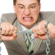 Businessman with chain on hands — Stock Photo
