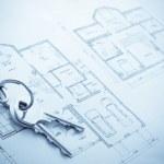 Blueprint hose plan with keys concept — Stock Photo