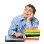 Artful man behind the laptop — Stock Photo