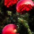 Foto Stock: Three big red christmas balls