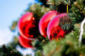 Big red christmas balls — Stock Photo