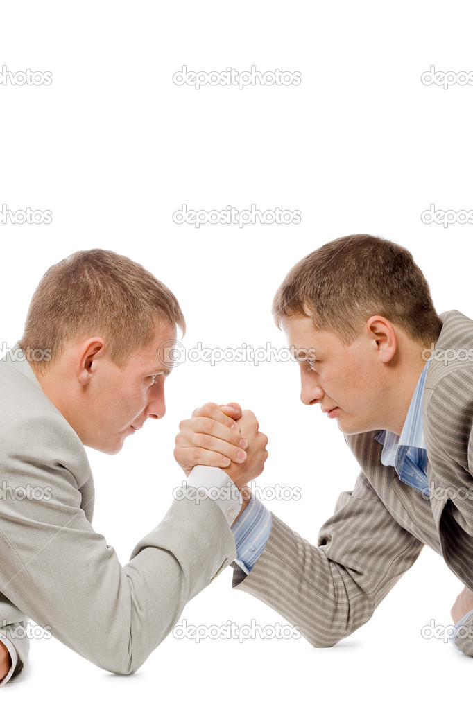 Two men wrestling with arms, concurention fight business concept, white background — Stock Photo #3343890
