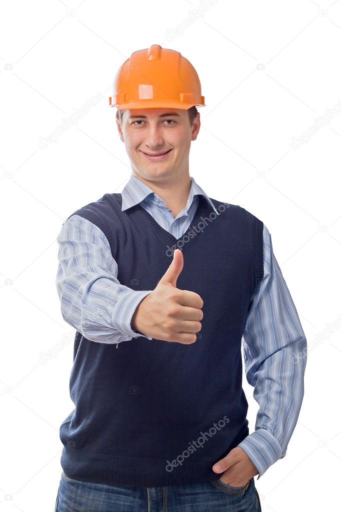 Man in orange helmet showing good sign, isolated on white background — Stock Photo #3343894