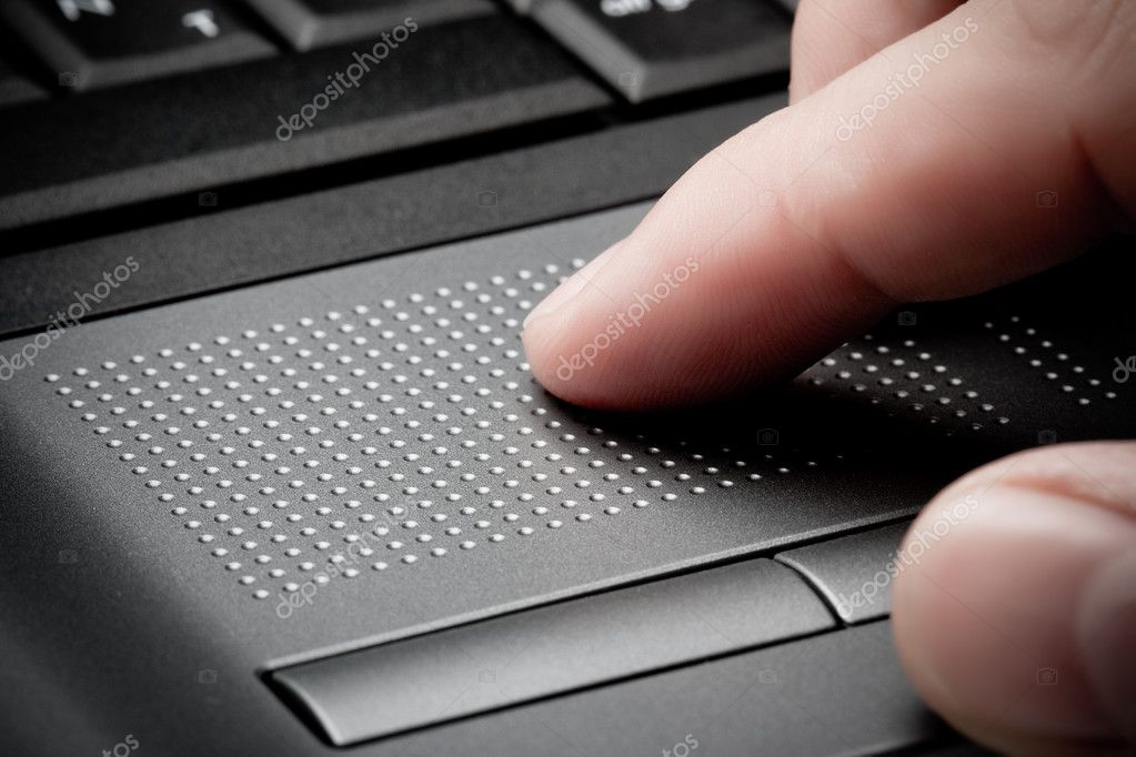 Closeup touchpad with finger, business concept — Stock Photo #3348086