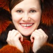 Joyful woman in fur — Stock Photo