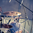 Drums and microphones — Stock Photo