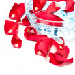 Rose petals in glass bowl - Stockfoto