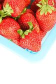 Närbild röd mogen jordgubbe bakgrund — Stockfoto