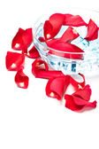 Rose petals in glass bowl — Stock Photo