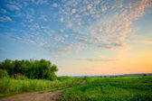 Sunset above the road — Stock Photo