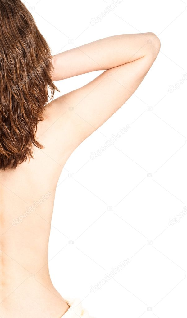 Half of woman back on white background — Stock Photo #3450314