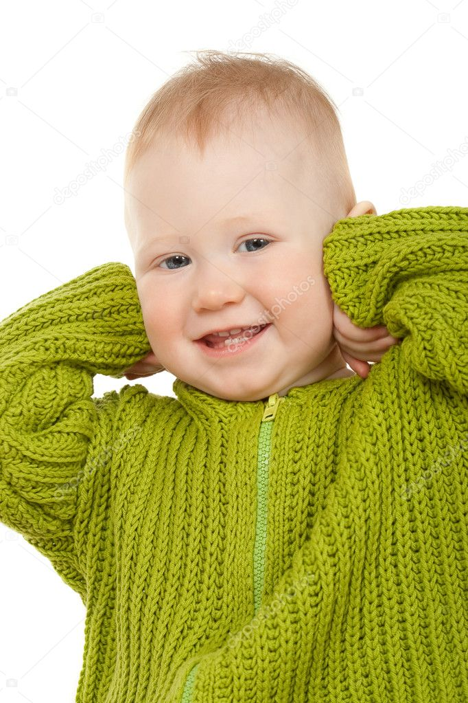 Small boy in the jacket smiling, closeup portrait — Stock Photo #3450689