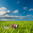 Woman laying on the grass — Stock Photo #3482448