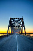Automobile bridge on sunrise — Stock Photo
