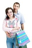 幸せなカップルのショッピング — ストック写真
