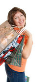 Woman with paper bags — Stock Photo