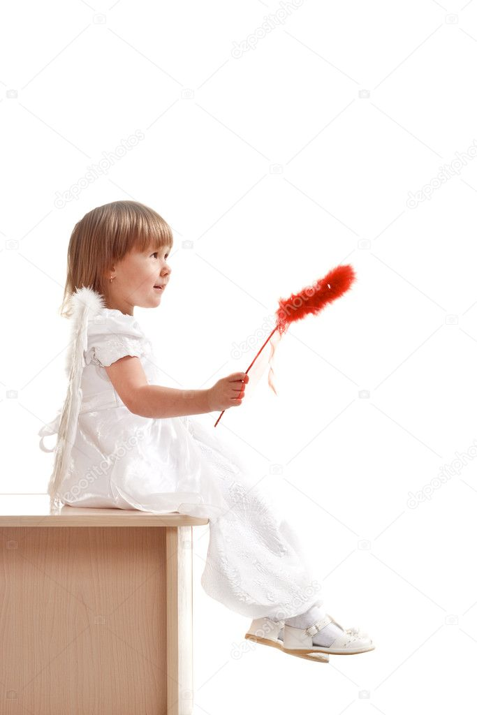 Little girl with red magic wand on white background — Stock Photo #3612652