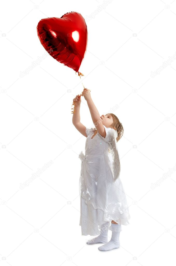 Angelic girl and red heart balloon — Stock Photo #3612680