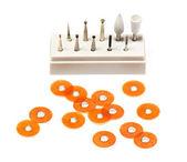 Dental burs and polish disks — Stock Photo