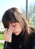 The young beautiful girl crying. — Stock Photo