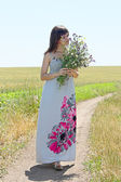 The girl with a bouquet — Stock Photo