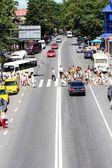 Pedestrian crossing in the street in suburb Sochi — Stock Photo