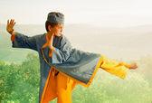 A boy in a blue kimono. — Stock Photo