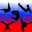 Parkour silhouettes vector illustration — ストックベクター #3390604