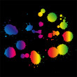 Colored blots on the black background vector — Stock Vector