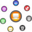 Glossy Icon Set for Web Applications.Vector — Stock Vector