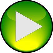Play green shiny button. Vector illustration — Stock Vector