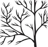Tree black branch on white background.Vector — Stock Vector