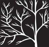Tree white branch, on black background.Vector — Stock Vector