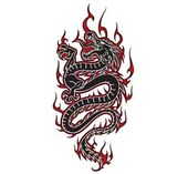 Fiery dragon tribal, vector — Stock Vector