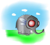 Elephant a fly.Vector — Stock Vector