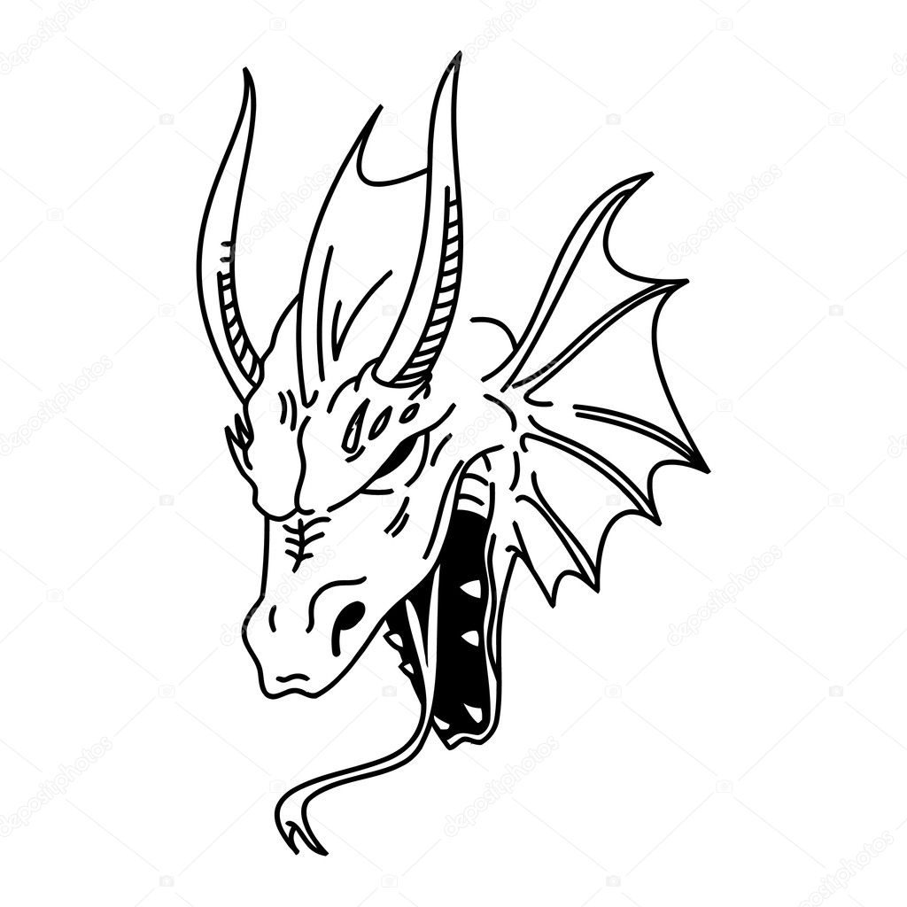 Black and White Dragon Head Drawings