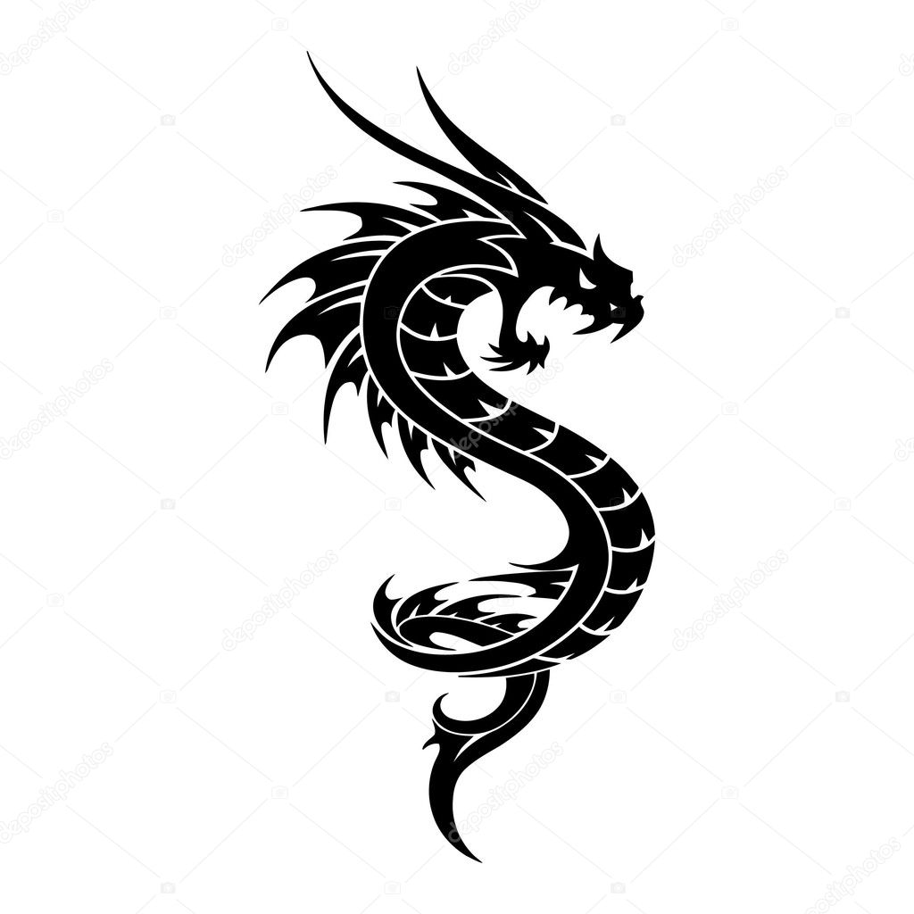 Tattoo Dragon Vector tribal Illustration - Stock Illustration