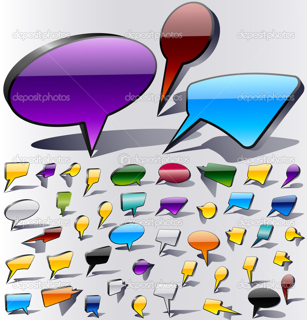 Collection glossy of colorful speech and thought bubbles background Vector — Stock Vector #3624736