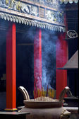 Smoke filled chinese temple — Stock Photo