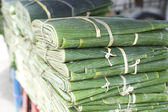 Banana leafes at the market — Stock Photo