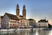 Zurich old town at sunset — Stock Photo