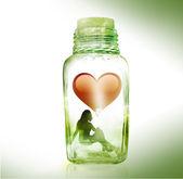 девушка в бутылке — Стоковое фото